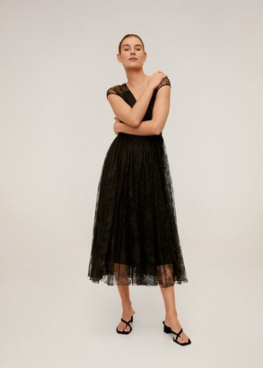 MANGO Lace midi dress black - 2 - Women