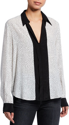7 For All Mankind Minimal Triangle-Print Placket Shirt