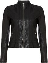 HUGO BOSS Janabelle Long Sleeve Leather Jacket