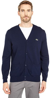 Lacoste Long Sleeve Cardigan with Open Side Pockets (Pitch Chine) Men's Clothing