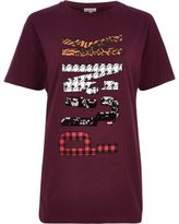 River Island Womens Red 'Punk' sequin print boyfriend T-shirt