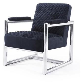 Blink Home Florence 26.2'' W Velvet Armchair Fabric: Black Velvet, Leg Color: Silver