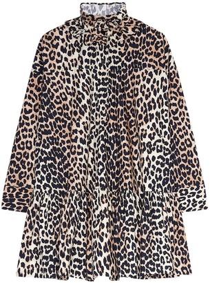 Ganni Leopard Print Cotton Poplin Mini Dress