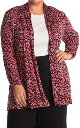 Bobeau Knit Patterned Open Front Cardigan