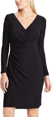 Chaps Women's Shirred Faux-Wrap Dress