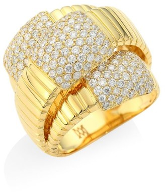 Brera Via 18K Yellow Gold & Diamond Triple Layer Ring