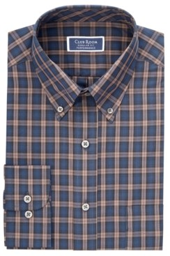 Club Room Men's Classic/Regular Fit Stretch Plaid Button Down Collar Dress Shirts, Created for Macy's