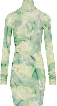 Fenty by Rihanna Body Con Dress Green Rose Print