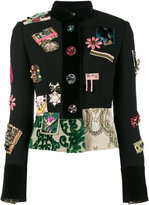 Dolce & Gabbana patch embellished fitted military jacket