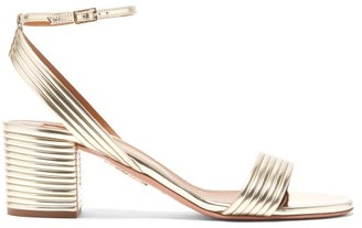 Aquazzura Sundance 50 Leather Sandals - Gold