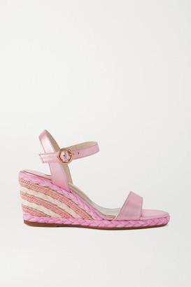 Sophia Webster Lucita Metallic Leather Espadrille Wedge Sandals - Pink