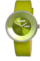 Crayo Unisex Button Green Leather-Band Watch With Day&Date Cracr0203