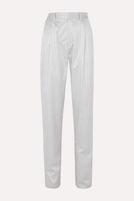 Gmbh GmbH - Tarek Pinstriped Wool And Silk-blend Jacquard Pants - Silver