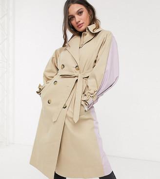 ASOS DESIGN Petite color block tie sleeve trench coat in stone
