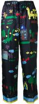 Muveil illustration print drawstring trousers - women - Polyester - 36
