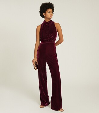 Reiss Joan - Velvet High Neck Jumpsuit in Berry