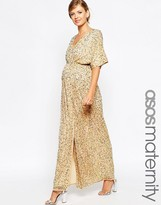 Asos Kimono Maxi Dress In Sequin