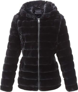 Bellivera Women's Faux Shearling Shaggy CoatFashion Long Sleeve Zip Up Jacket Hooded 1801 Black S