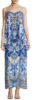Camilla Embellished Layered Maxi Dress, Blue Multi