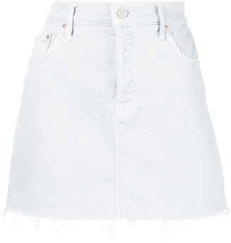 Mother Raw Hem Mini Denim Skirt