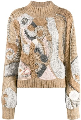 Alberta Ferretti Colour-Block Embroidered Sweater
