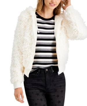 Say What Juniors' Faux-Fur Hooded Jacket