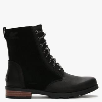 Sorel Emelie Short Lace Black Leather & Suede Ankle Boots