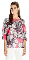 Trina Turk Women's Garland Agean Floral Stretch Silk Georgette Blouse