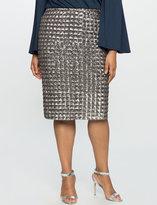 ELOQUII Plus Size Checkered Sequin Pencil Skirt