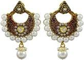 Matra Goldtone Indian Bollywood Ethnic CZ Dangle Earring Set Traditional Women Jewelry