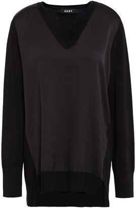 DKNY Hammered Satin-paneled Knitted Sweater