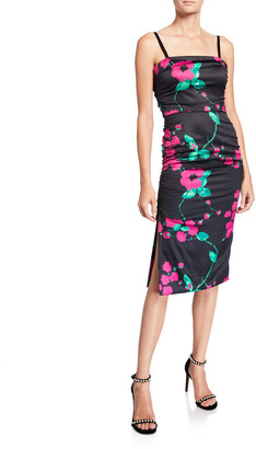 Milly Dayna Painted Floral Sleeveless Satin Cocktail Dress