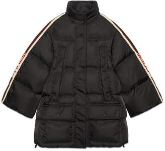 Gucci Padded nylon cape jacket with stripe