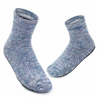 Dream Bridge Womens Non-Slip Knit Slipper Socks Cosy Indoor Floor Work Socks with Rubber Soles (Large