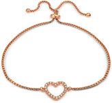 Giani Bernini Cubic Zirconia Pavé Heart Adjustable Bracelet in 18k Yellow or Rose Gold-Plated Sterling Silver or Sterling Silver, Only at Macy's