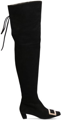 Roger Vivier 45mm Belle Vivier Suede Cuissard Boots