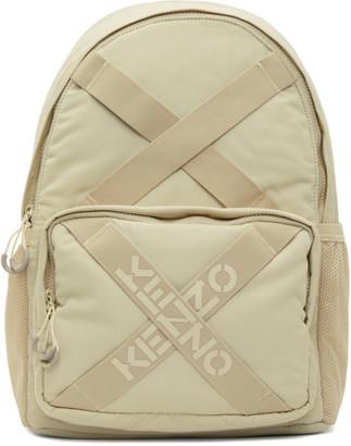 Kenzo Beige Sport Logo Backpack