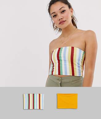 Miss Selfridge pack of 2 jersey bandeau tops in mustard and stripe-Multi