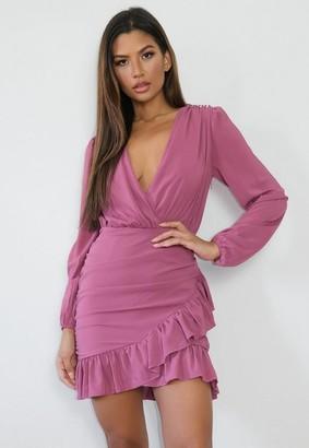 Missguided Plum Frill Hem Wrap Bodycon Mini Dress