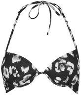 Topshop Smudge leopard plunge bikini top