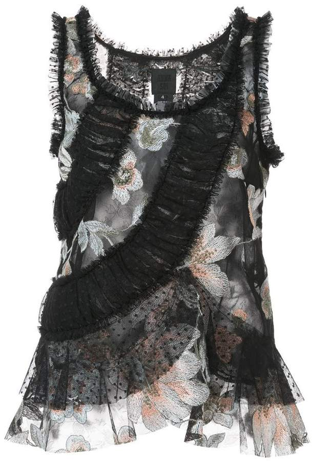Anna Sui flower tulle top