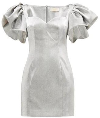 Sara Battaglia Puff-sleeved Metallic Mini Dress - Silver