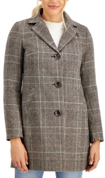 Maralyn & Me Juniors' Plaid Reefer Coat, Created for Macy's