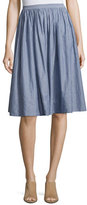Vince Pencil-Stripe Shirred Full Skirt, Blue/White
