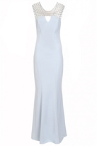 Quiz Pale Blue Crepe Diamante Keyhole Dress