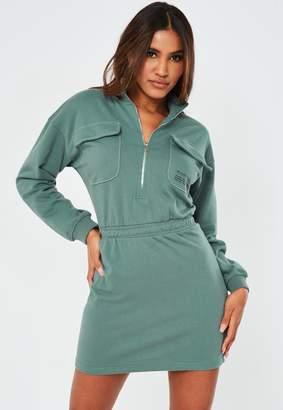 Missguided Teal Zip Through High Neck Slogan Dress