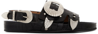 Toga Pulla Black Croc Oversized Buckle Sandals