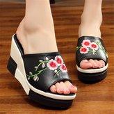 Neec Beach Sandals High Heel Clip Toe Shoes Flip Flops Casual Style Wedges Platform Sandals