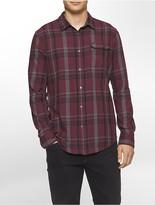 Calvin Klein Slim Fit Bordeaux Brushed Plaid Shirt