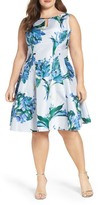 Gabby Skye Keyhole Detail Floral Shantung Fit & Flare Dress (Plus Size)